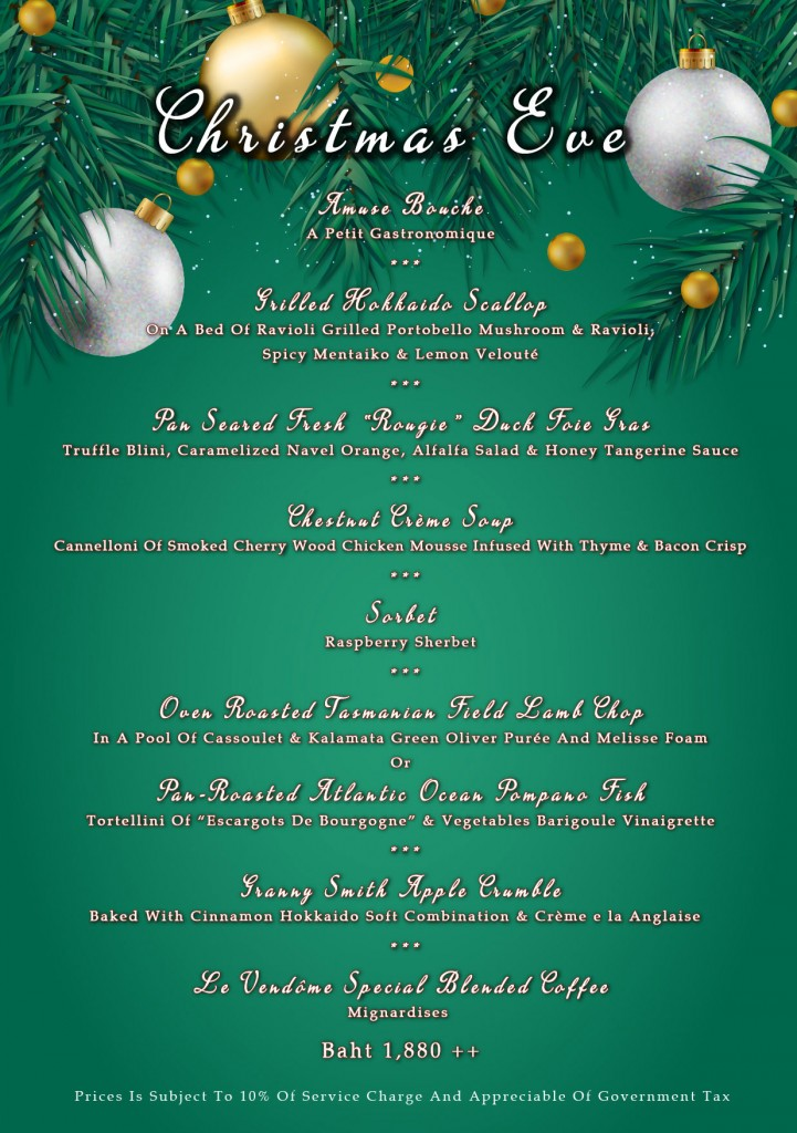 christmas eve dinner menu