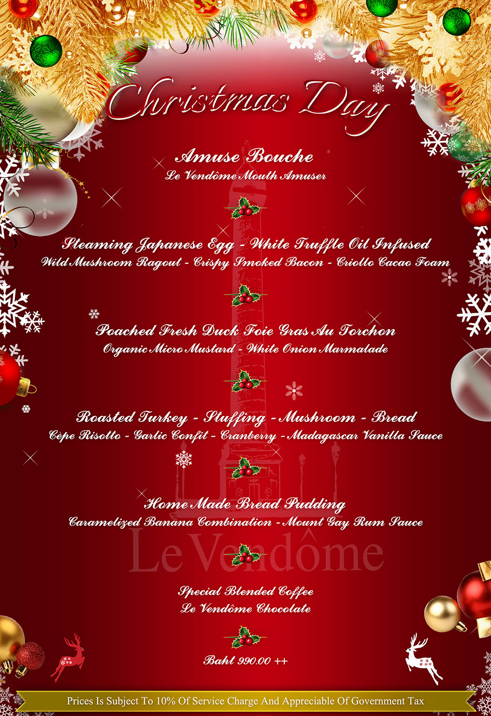 Christmas Day In France.Le Vendome Christmas Day Menu